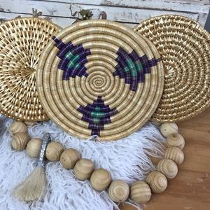 Bohemian Woven Decorative Plates Disks Set